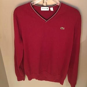 LACOSTE RED V-NECK SWEATER. Size Large.